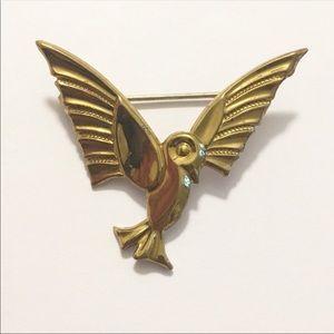 Vintage Gold Hummingbird Brooch Pin